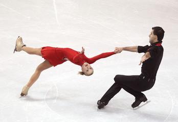 Makarova and Kenchadze of Bulgaria perform their pairs short program at the ISU World Figure Skating Championships in London