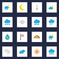 Meteorology Flat Icons Set. Collection Of Moon, Crescent, Rain And Other Elements. Also Includes Symbols Such As Demilune, Colors, Shower.