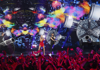 """Romania's Ilinca ft. Alex Florea performs the song """"Yodel It!"""" during the Eurovision Song Contest 2017 Semi-Final 2 at the International Exhibition Centre in Kiev"""