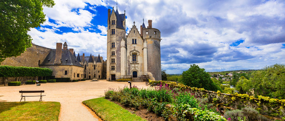 Majestic medieval castles in Loire valley - Chateau de Montreuil-Bellay. France