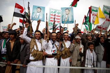 Supporters of the Houthi movement demonstrate to mark the annual Al-Quds Day, in Sanaa