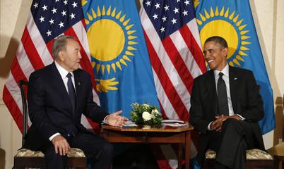 U.S. President Barack Obama meets with Kazakhstan's President Nursultan Nazarbayev in The Hague