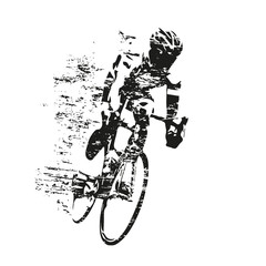 Cycling theme, scratched vector silhouette of road cyclist