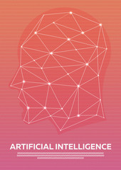 Artificial intelligence, Cybernetic Brain, Binary code. Vector illustration.