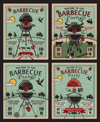collection of invitation card on barbecue party