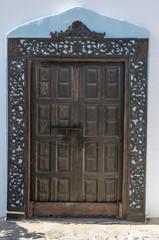 Ancient door in residential house on Fuerteventura, Canary islands.