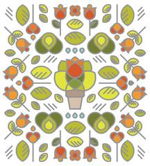 plantes, jardin, motif, tapisserie, tampon, tissu