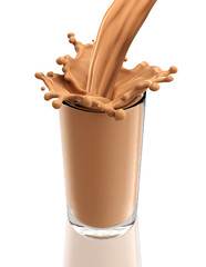 Splash of chocolate milk from the glass on isolated