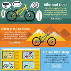 Bicycle tools banner horizontal set, flat style