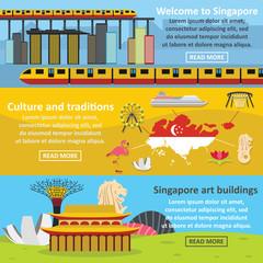 Singapore banner horizontal set, flat style