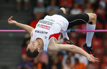 Distelberger of Austria competes in high jump event of men's decathlon during European Athletics Championships in Zurich