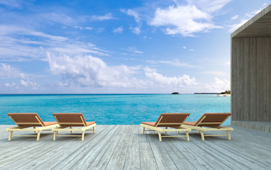 3D rendering, Beach chairs on wooden floor with blurred blue sky background.
