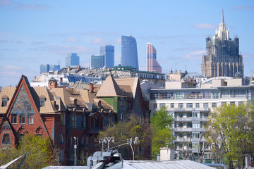 Moscow, Russia - May, 7, 2017: Panorama of Moscow center with skyscrapers of Moscow City