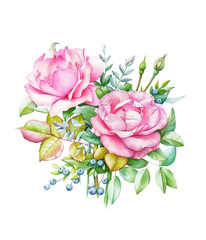 Watercolor illustration of bouquet with two pink roses and buds, green leaves and blue berries