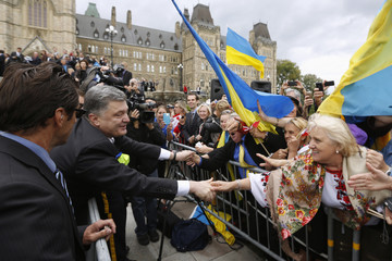 Ukraine's President Poroshenko greets supporters on Parliament Hill in Ottawa