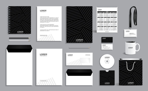 Black corporate identity design template with gray stripes background