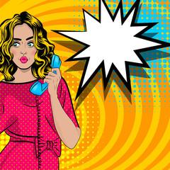 Pop art cartoon woman talk hold hand retro phone