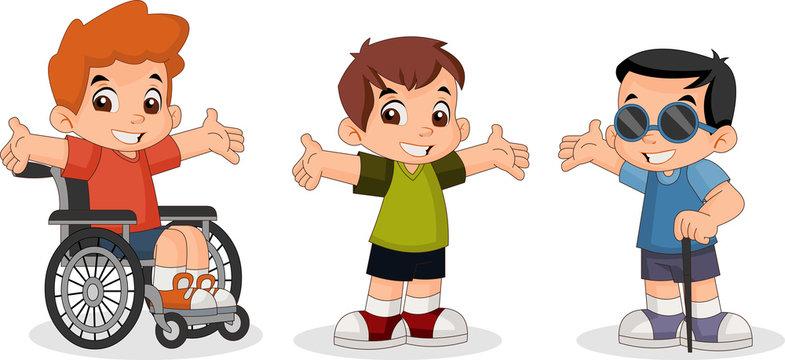 Cute happy cartoon boys. Blind boy. Boy on wheelchair.