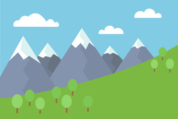 Cartoon colorful vector flat illustration of mountain landscape with snow covered peaks with trees and meadow under blue sky with clouds
