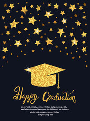 Graduation party. Vector template of invitation card in black and golden colors.