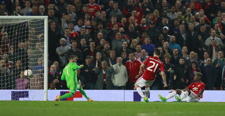 Manchester United's Ander Herrera scores a goal which is later disallowed