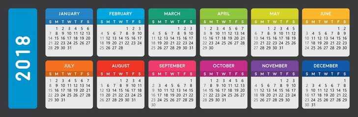 Calendar 2018.