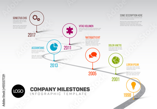 Infographic Timeline Template With Pointers Stock Image And Royalty