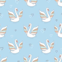 Seamless pattern with swans. Vector background.