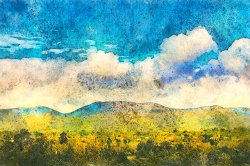Landscape in Georgia, Kakheti. Painting watercolor.