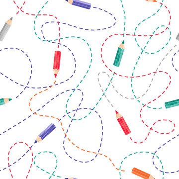 Seamless pattern with colorful watercolor pencils. Vector creative  background.