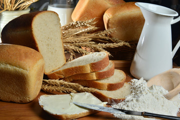 traditional bread with milk on burlap background