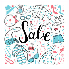 Sale/To shop, sale. Vector hand drawn illustration. Fashionable accessories.