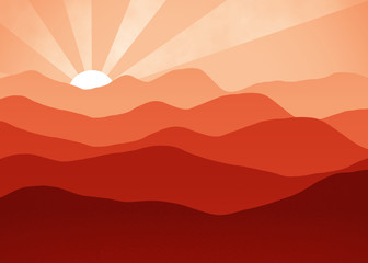 Red Dawn - Mountain Landscape View Window - Rays Background - Foggy Morning