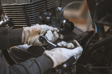 Process of caring and maintain an old motorcycle, retro