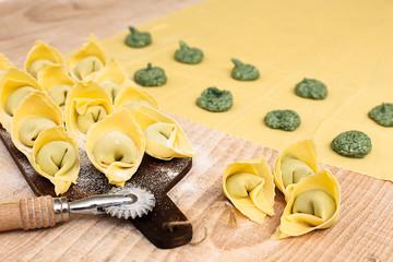 Preparation of egg pasta and ravioli stuffing