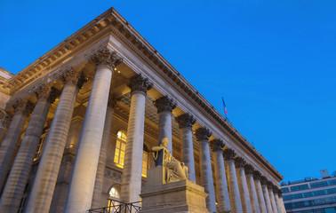 The Bourse of Paris- Brongniart palace at night,Paris, France.