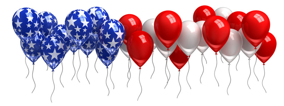 Red, white, and blue balloons isolated on white
