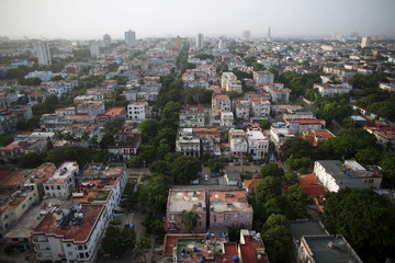 The neighborhood of El Vedado is seen from a tall building in Havana