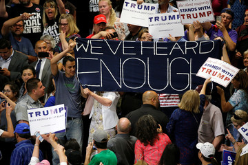 Protesters disrupt a rally by Trump and his supporters in Albuquerque