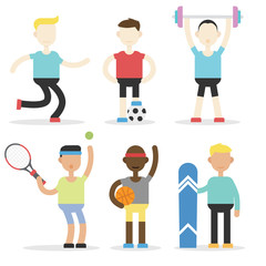 Man sport activity with a lot of variation and cartoon style