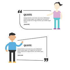Quotation mark speech bubble template with people on it