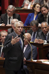 French Prime Minister Jean-Marc Ayrault speaks during the questions to the government session at the National Assembly in Paris