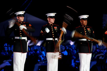 Members of the U.S. Marine Corps Silent Drill team take part in the opening ceremony of the Invictus Games in Orlando Florid3