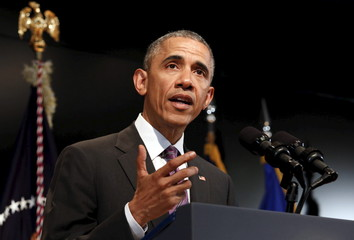 President Barack Obama delivers remarks at the Office of the Director of National Intelligence