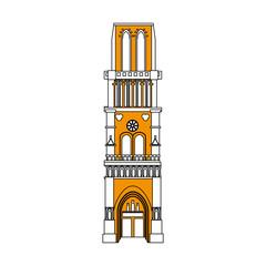 church building icon image vector illustration design partially colored