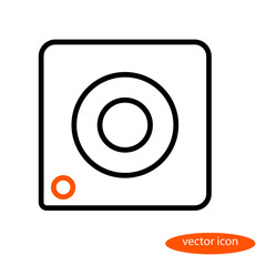 A simple stylized linear vector image of a camera with an orange eye, a flat line icon