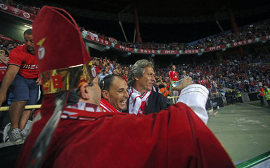 Benfica coach Jorge Jesus celebrates their team's win over Rio Ave in the Portuguese Super Cup soccer match at Aveiro's city stadium