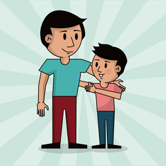 dad and boy together fathers day image vector illustration