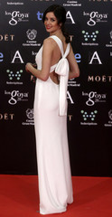 Spanish actress Fernandez poses on the red carpet before the Spanish Film Academy's Goya Awards ceremony in Madrid
