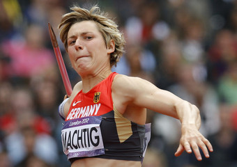Germany's Julia Machtig competes during women's heptathlon javelin event at London 2012 Olympic Games